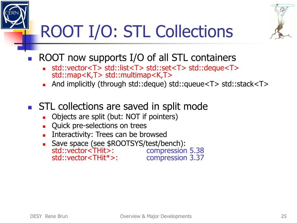 ROOT I/O: STL Collections