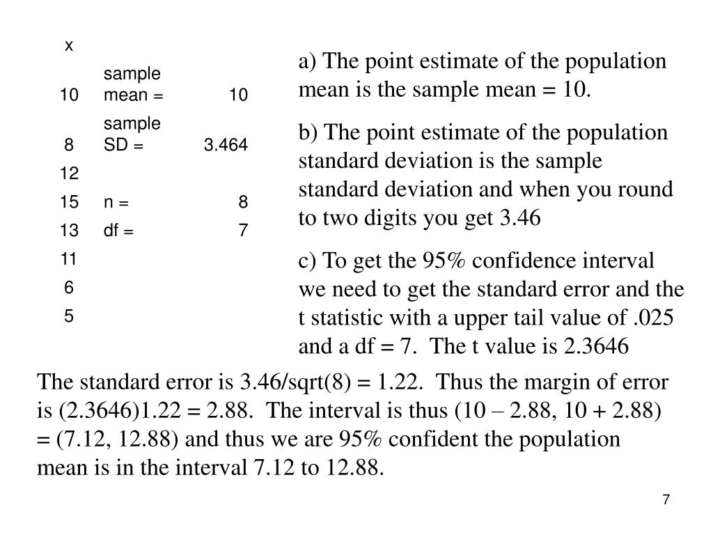 a) The point estimate of the population mean is the sample mean = 10.