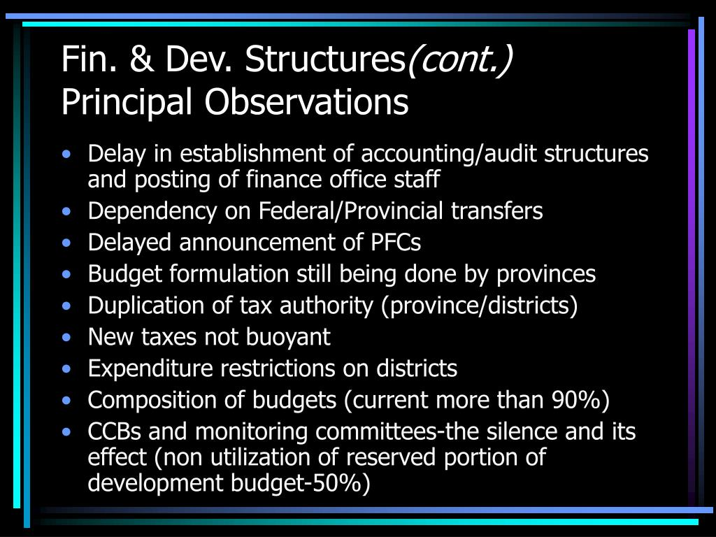 Fin. & Dev. Structures