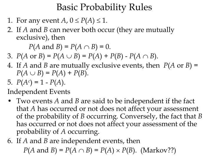 Basic Probability Rules