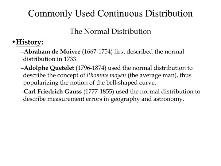 Commonly Used Continuous Distribution
