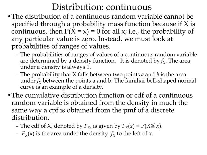 Distribution: continuous
