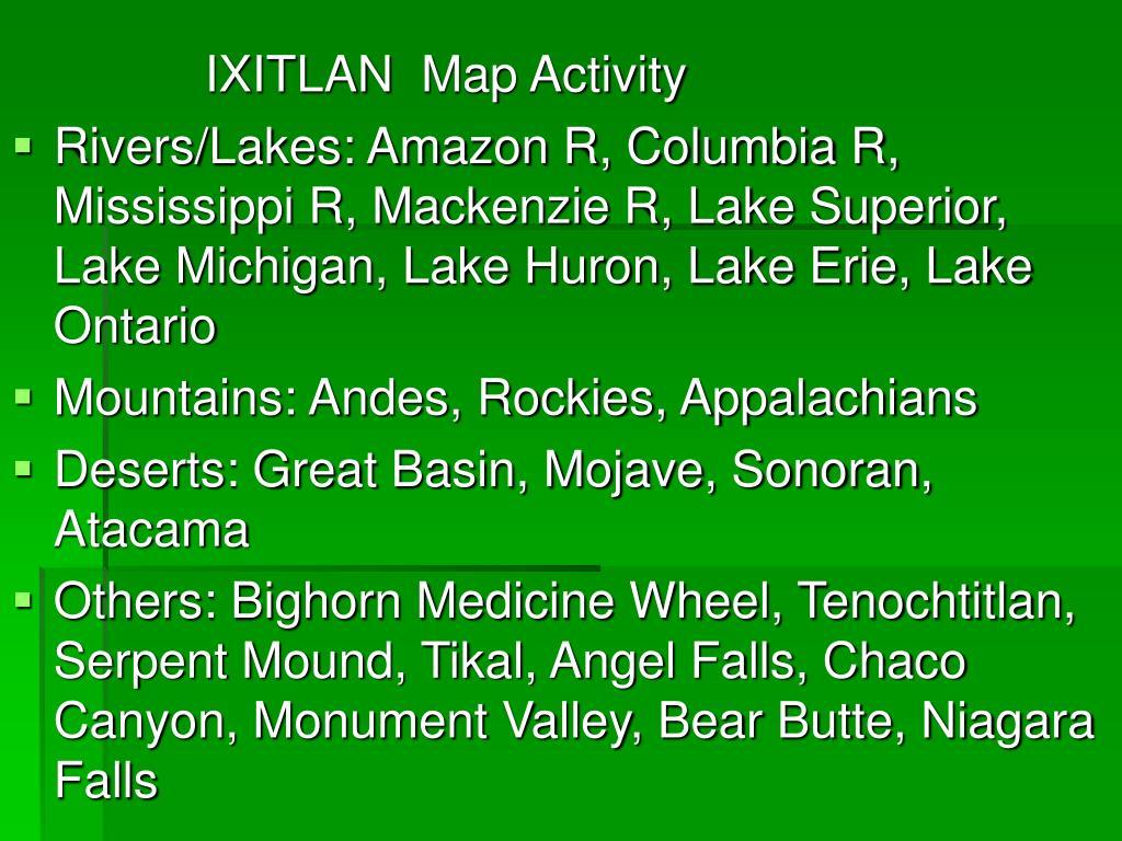 IXITLAN Map Activity