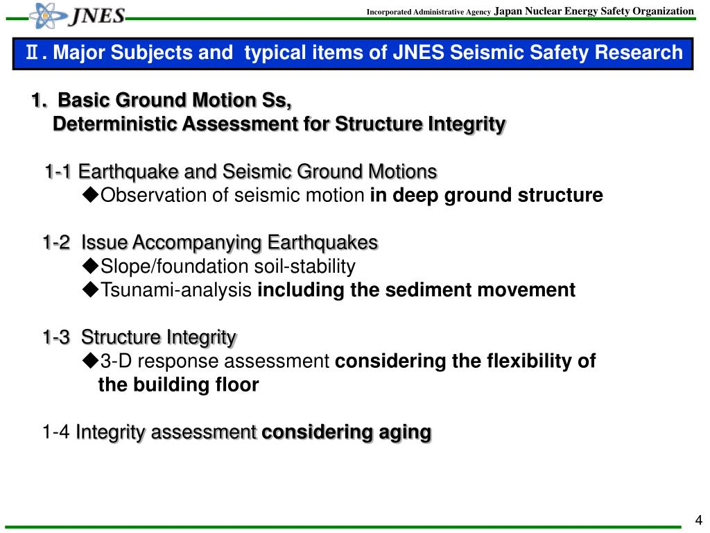 Ⅱ. Major Subjects and  typical items of JNES Seismic Safety Research