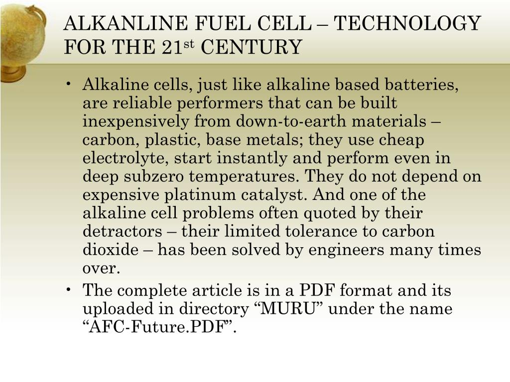 ALKANLINE FUEL CELL – TECHNOLOGY FOR THE 21