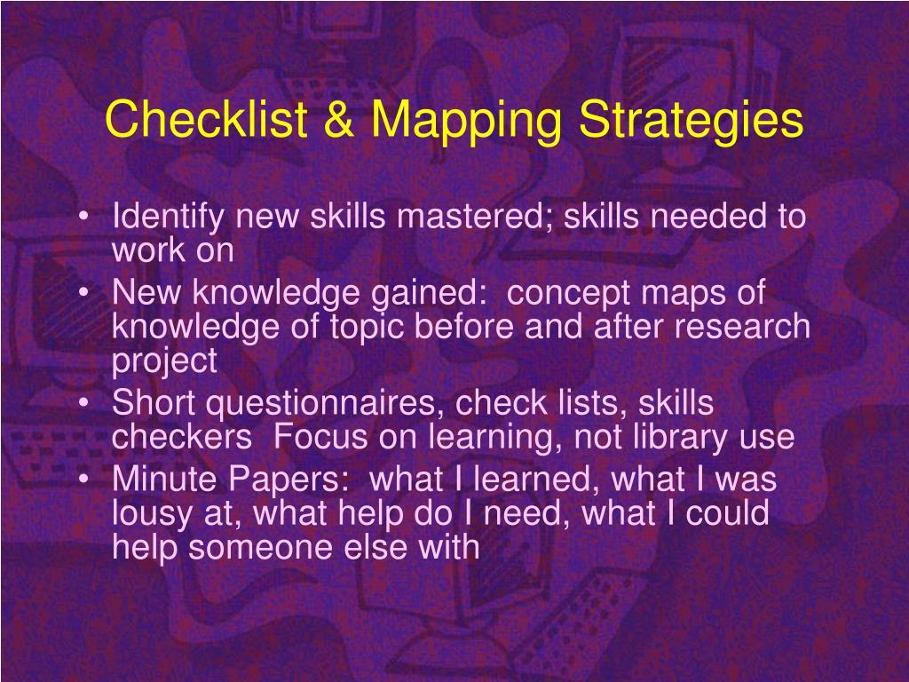 Checklist & Mapping Strategies