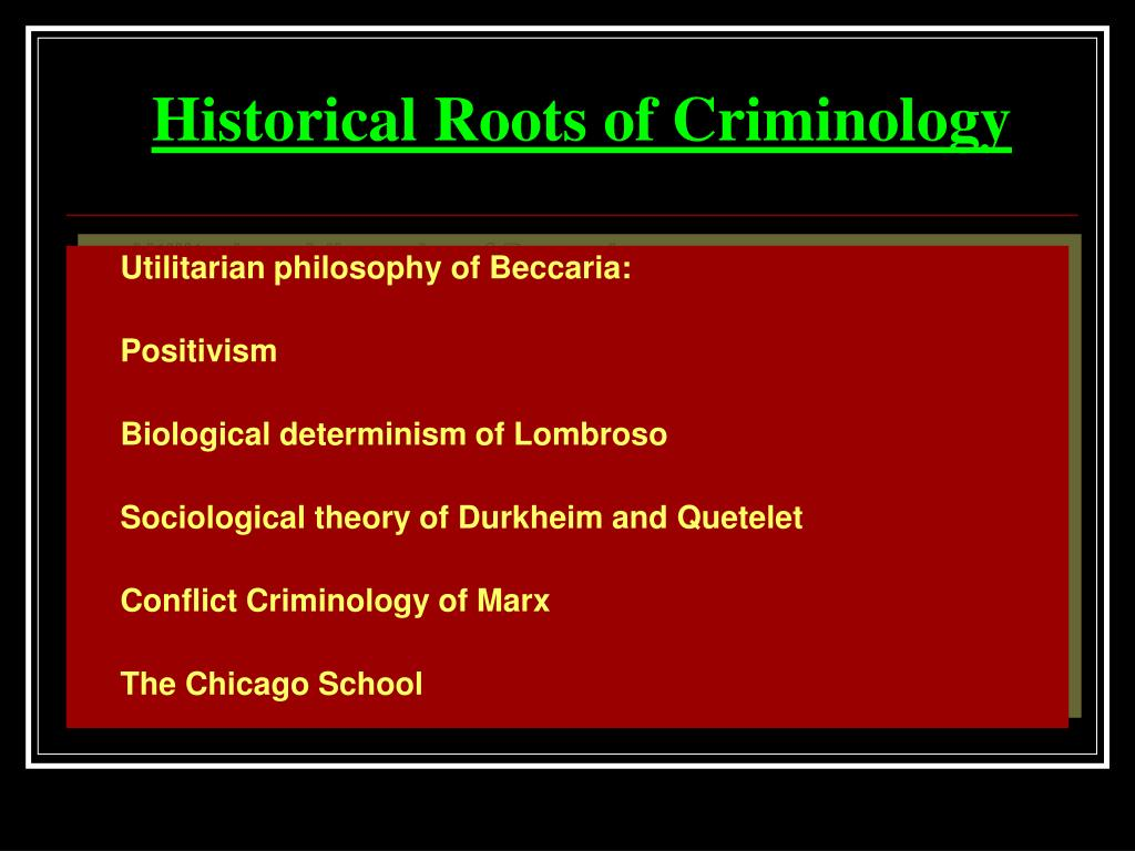 criminological theories - durkheim, beccaria, lombroso essay Essay about lombroso's biological theory of crime - lombroso's biological theory of crime: the most vivid example of the biological determinism is the theory of cesare lombroso lombroso based his theory on the assumption that criminals have certain physiognomic features or abnormalities.