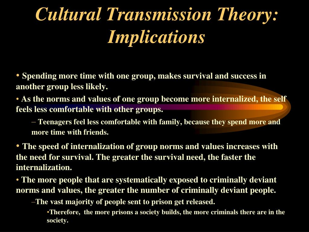 Cultural Transmission Theory: Implications