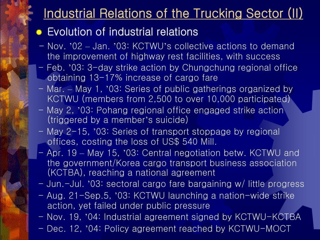 Industrial Relations of the Trucking Sector (II)