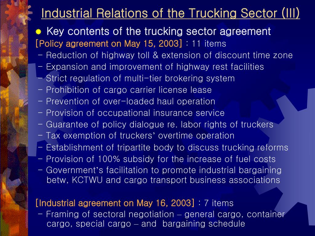 Industrial Relations of the Trucking Sector (III)