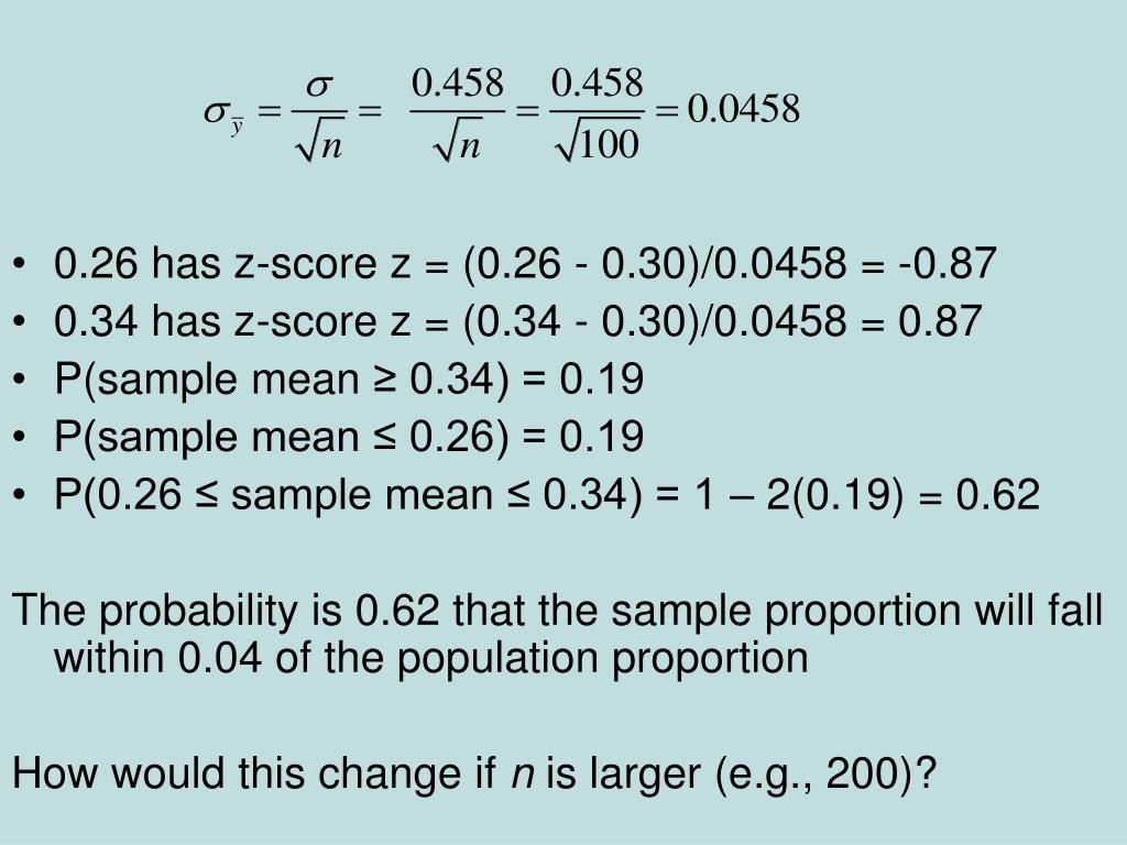 0.26 has z-score z = (0.26 - 0.30)/0.0458 = -0.87
