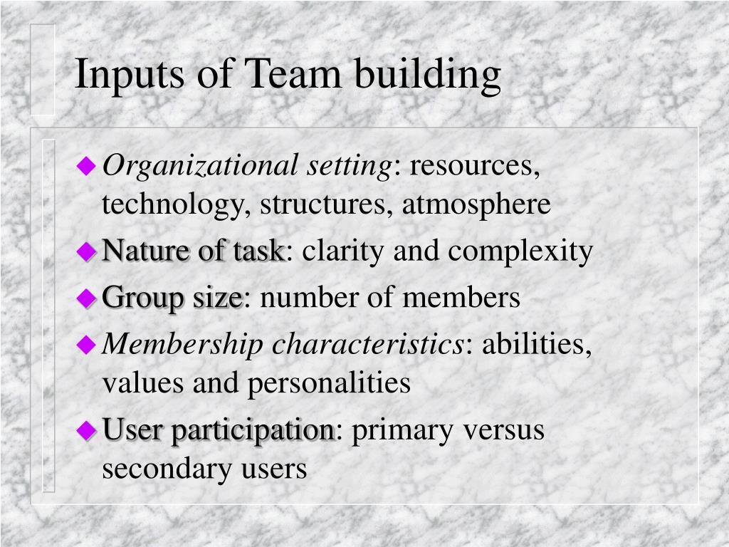 Inputs of Team building