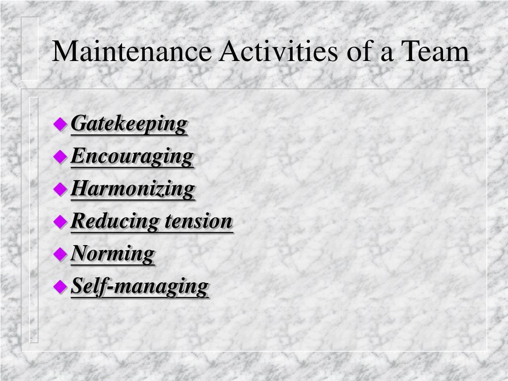 Maintenance Activities of a Team