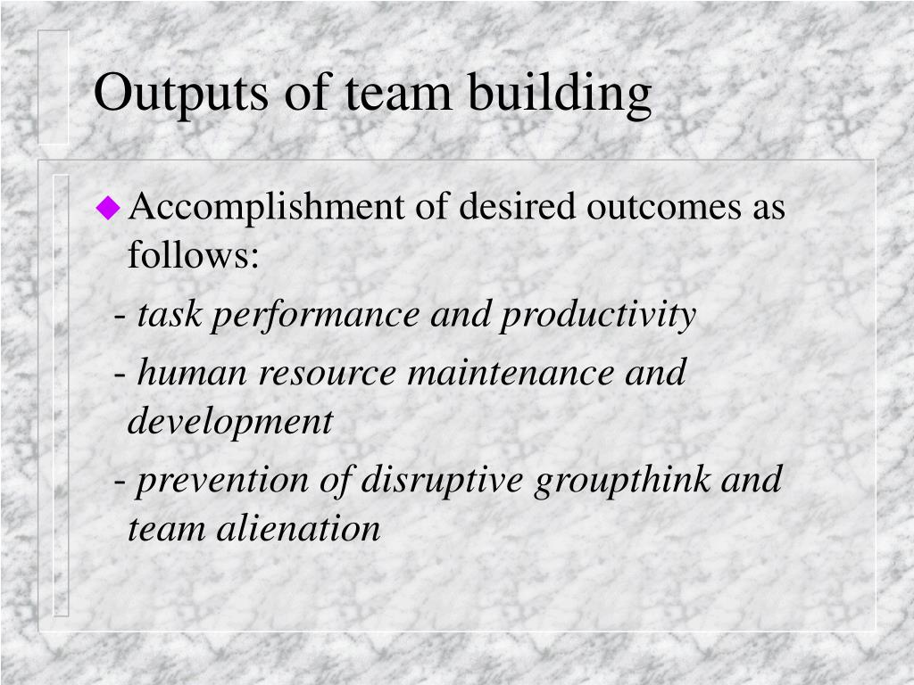 Outputs of team building