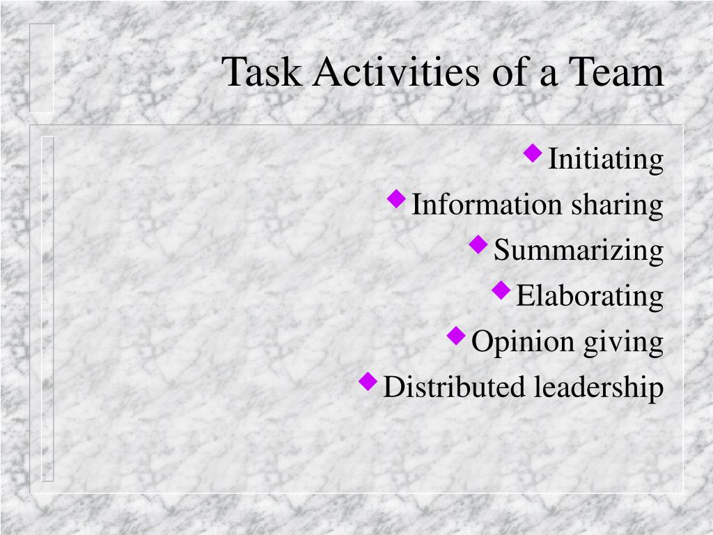 Task Activities of a Team