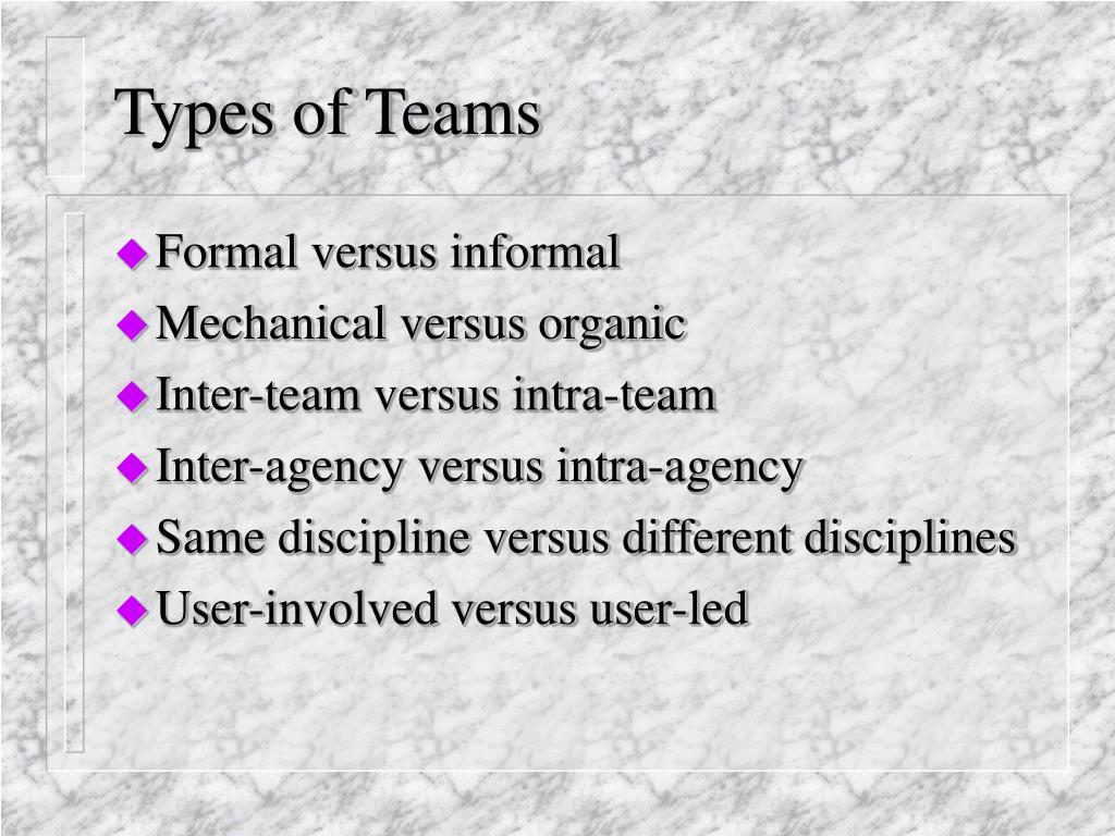 Types of Teams