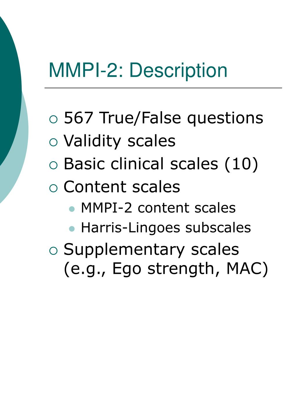MMPI-2: Description