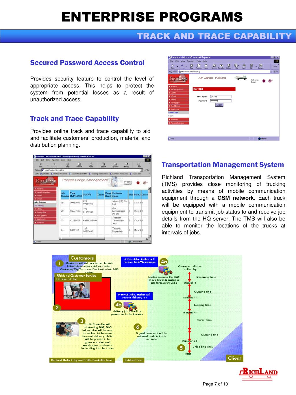 TRACK AND TRACE CAPABILITY