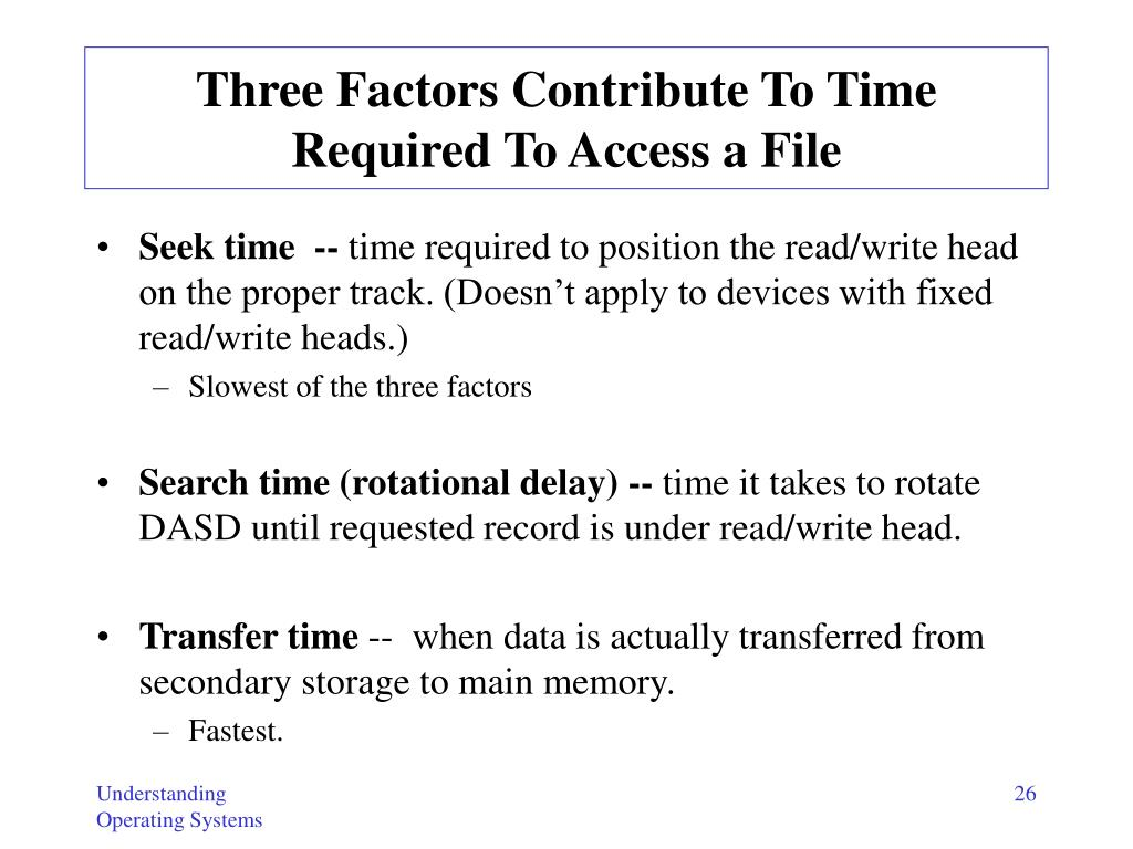 Three Factors Contribute To Time Required To Access a File