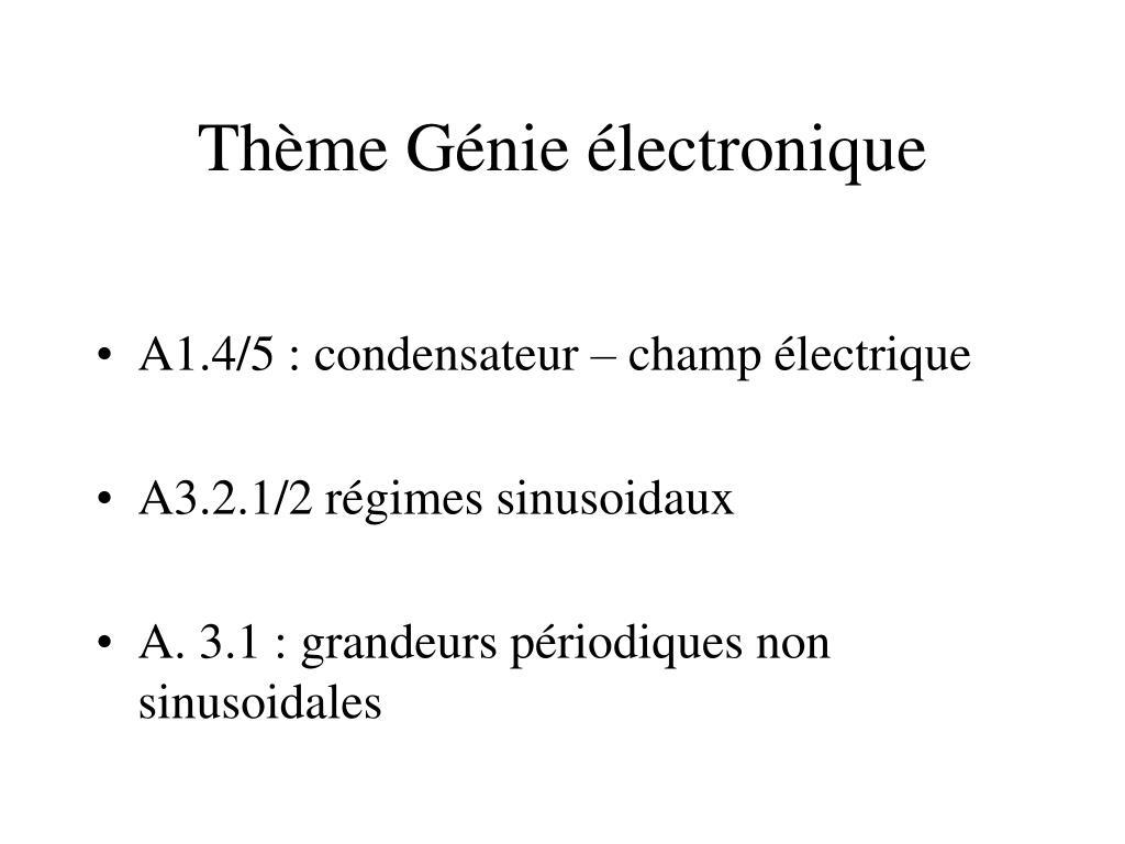 Thème Génie électronique