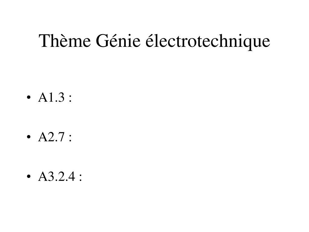 Thème Génie électrotechnique