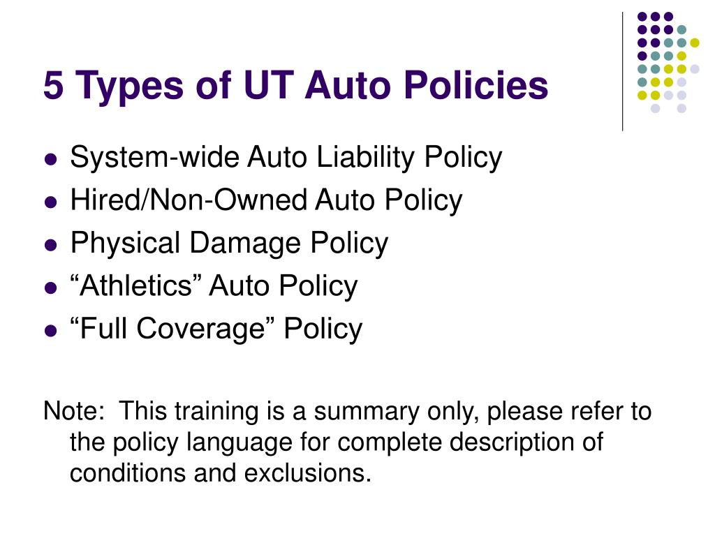5 Types of UT Auto Policies