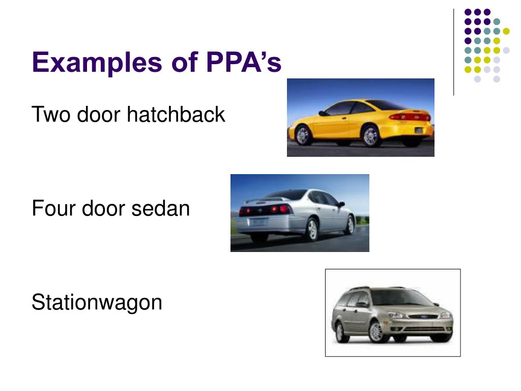 Examples of PPA's