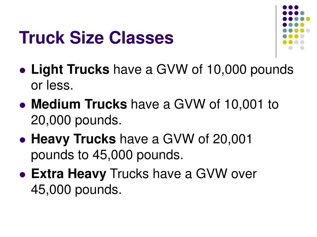 Truck Size Classes