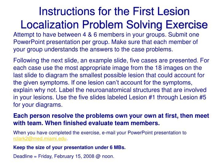 Instructions for the First Lesion Localization Problem Solving Exercise