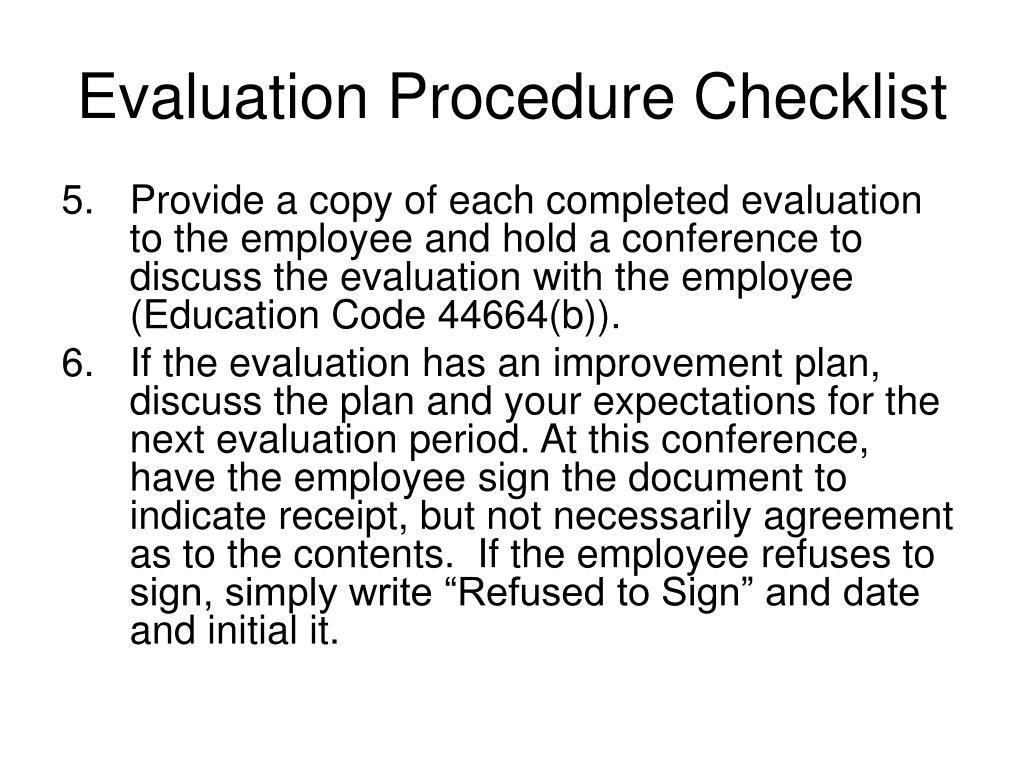 Evaluation Procedure Checklist
