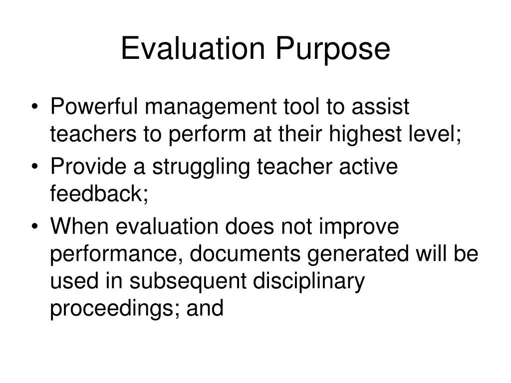 Evaluation Purpose