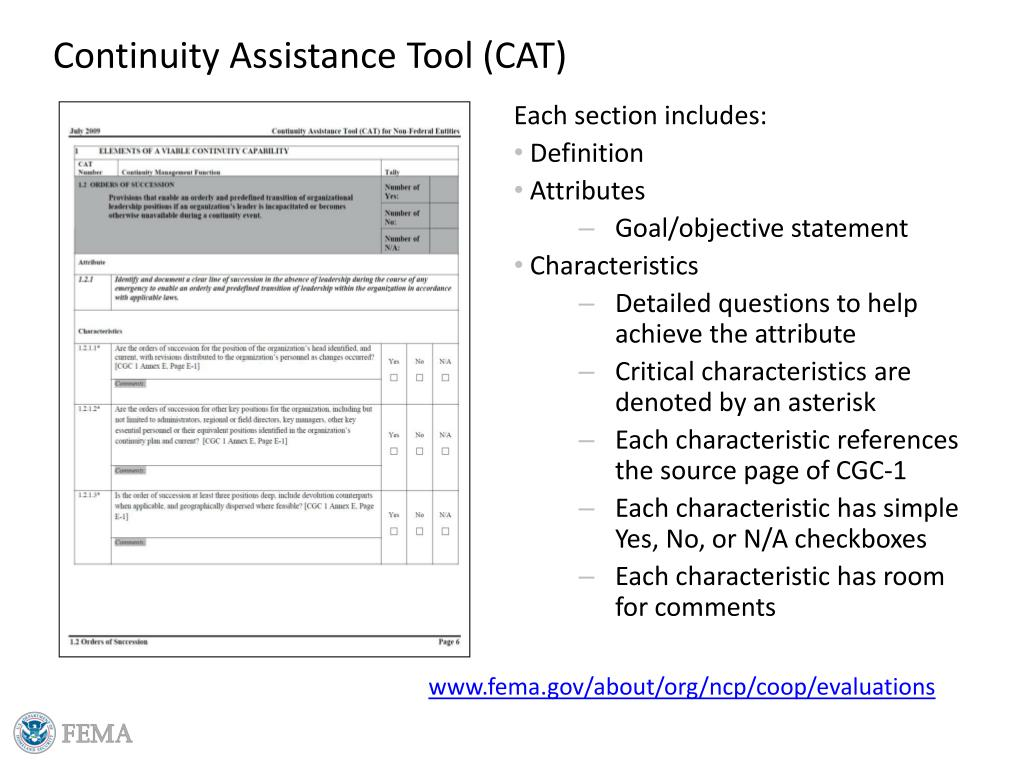 Continuity Assistance Tool (CAT)