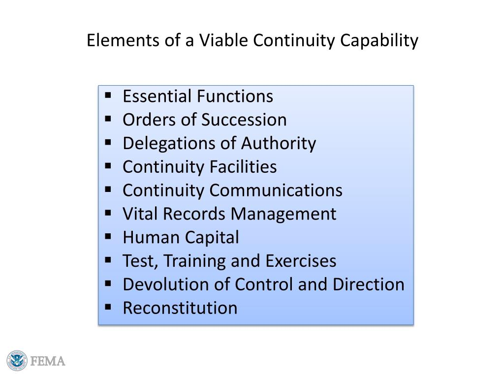 Elements of a Viable Continuity Capability