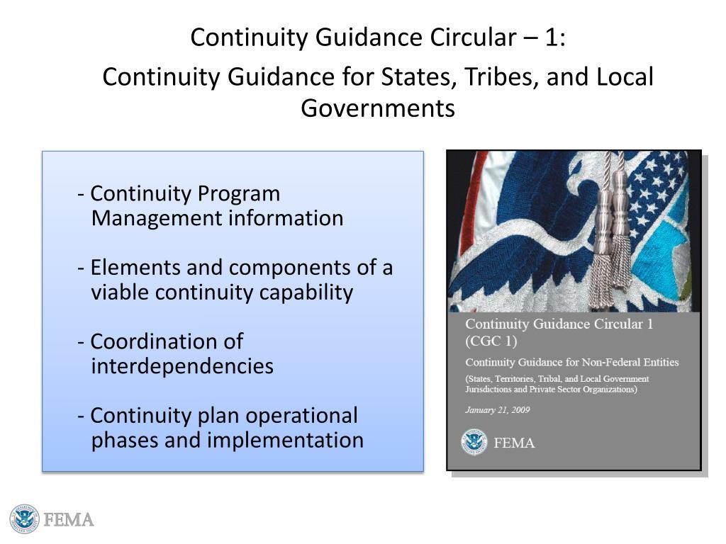 Continuity Guidance Circular – 1: