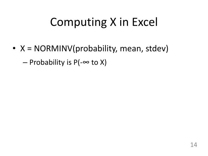 Computing X in Excel