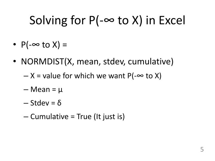 Solving for P(-∞ to X) in Excel