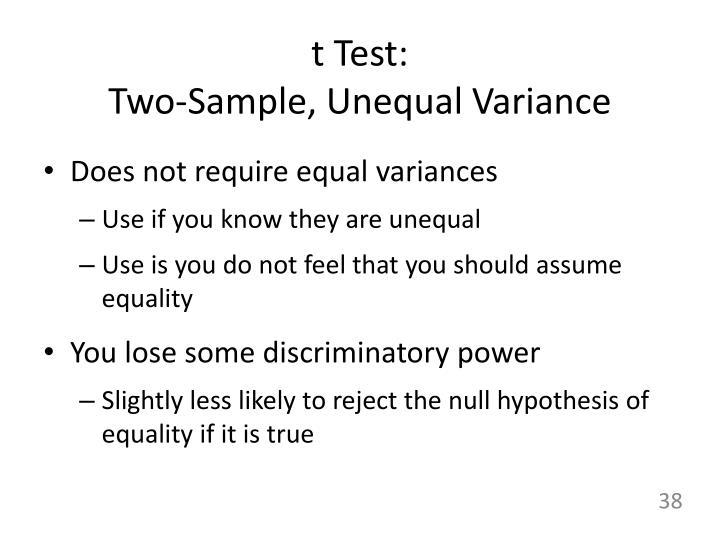 t Test: