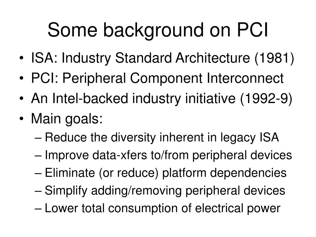 Some background on PCI