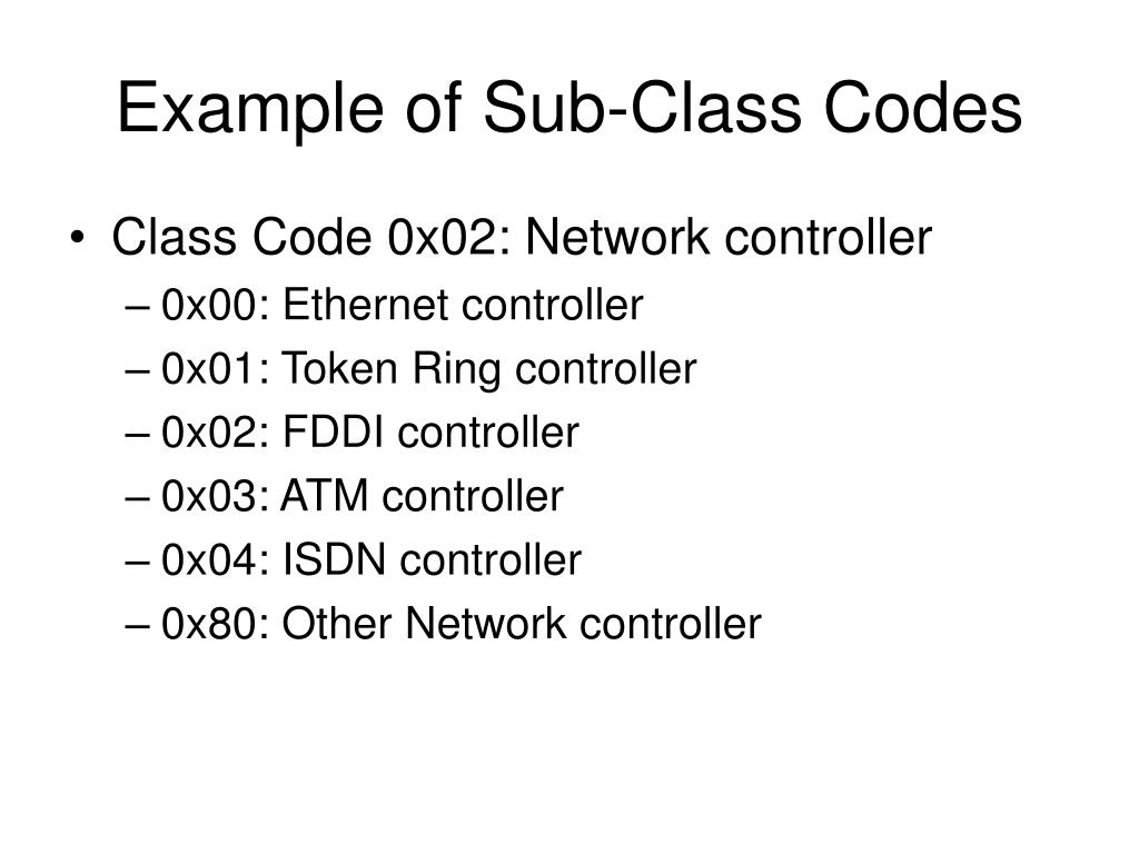 Example of Sub-Class Codes