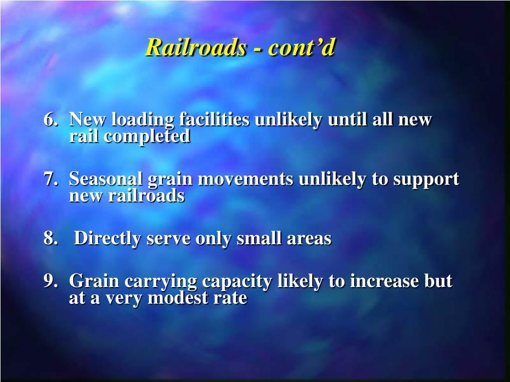 Railroads - cont'd