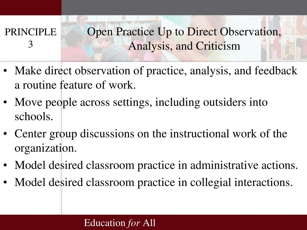 Open Practice Up to Direct Observation, Analysis, and Criticism