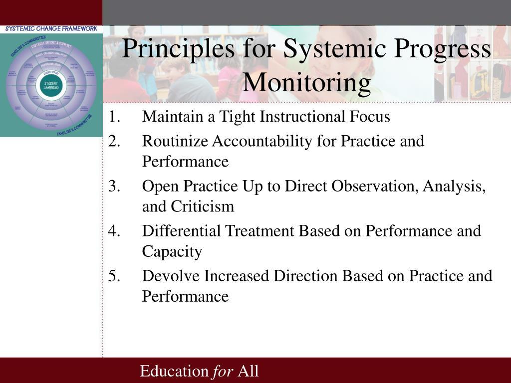 Principles for Systemic Progress Monitoring