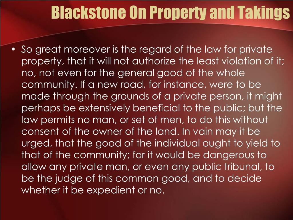 Blackstone On Property and Takings