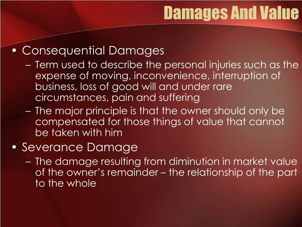 Damages And Value