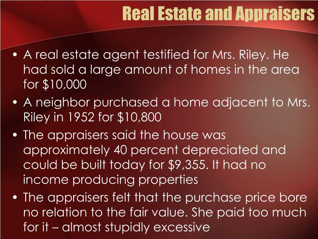 Real Estate and Appraisers