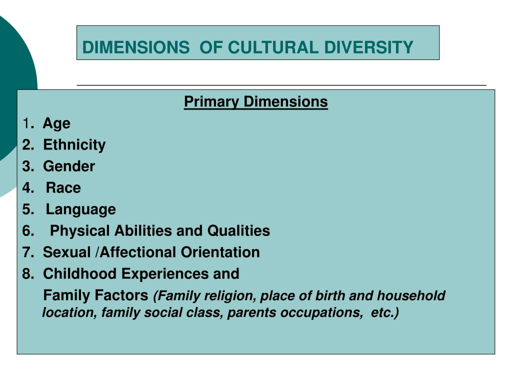 what are the dimensions of cultural diversity Dimensions of diversity the dimensions of diversity wheel shows the complexity of the diversity filters through which all of us process stimuli and information.