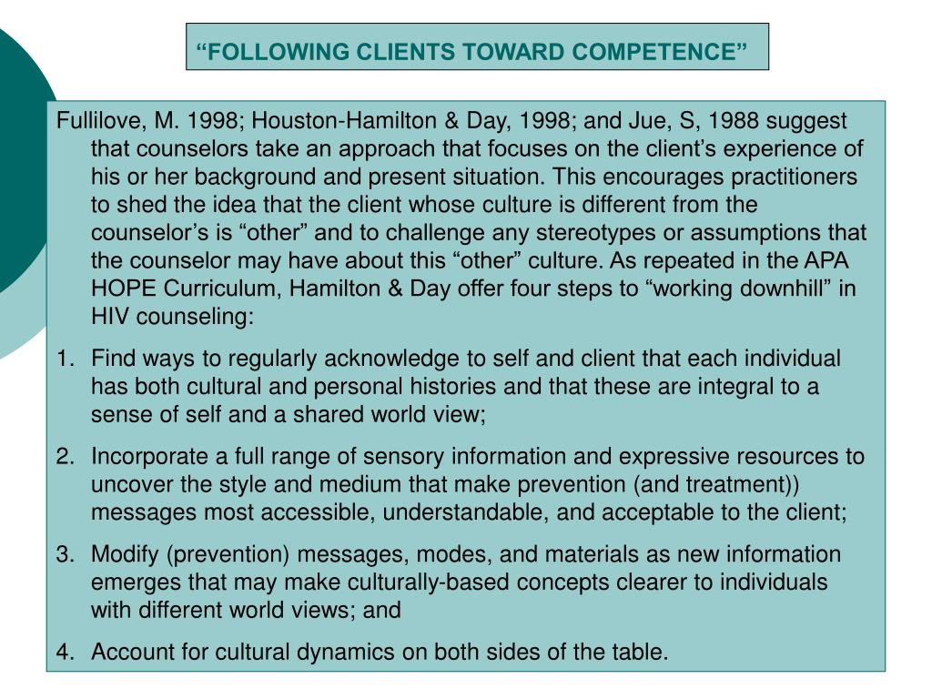 """FOLLOWING CLIENTS TOWARD COMPETENCE"""
