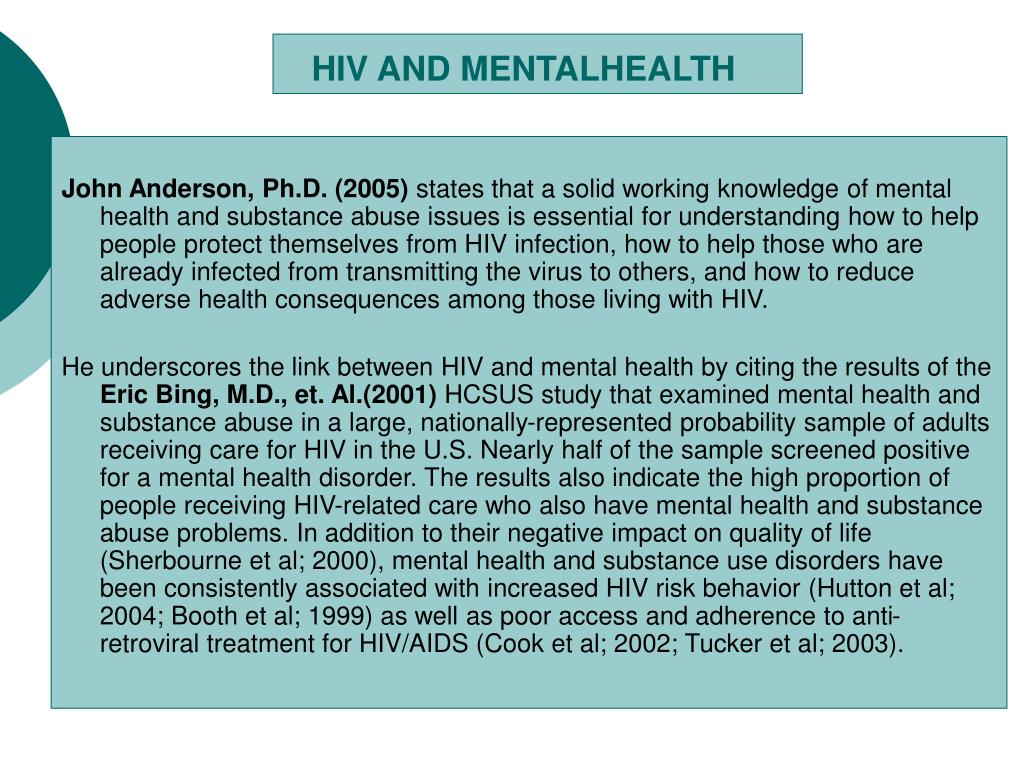HIV AND MENTALHEALTH