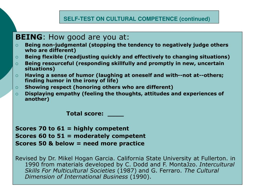 SELF-TEST ON CULTURAL COMPETENCE (continued)