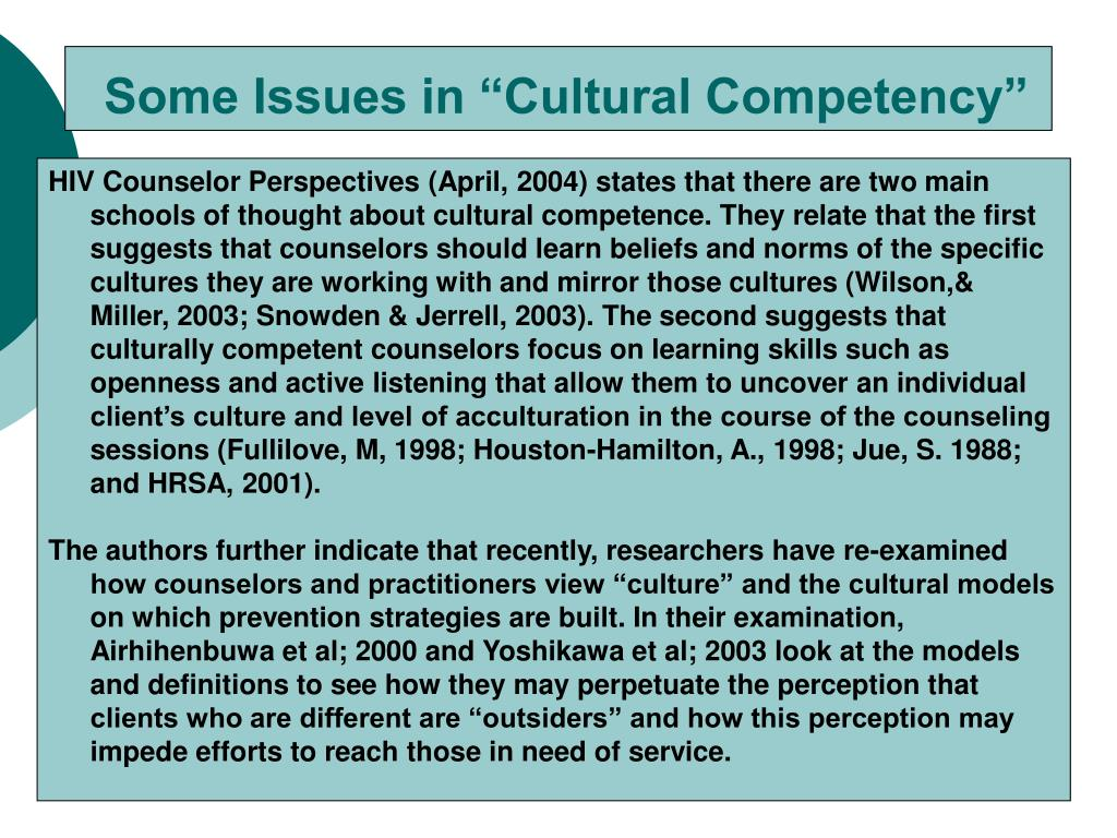 "Some Issues in ""Cultural Competency"""